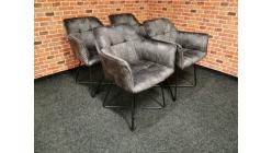 Nová 4x židle-křesílko ANNA šedé