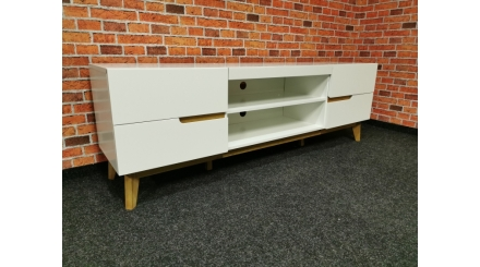 Nový bílohnědý TV stolek CASORIA stylový