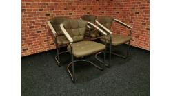Nová 4x hnědá židle-křesílko s knoflíky