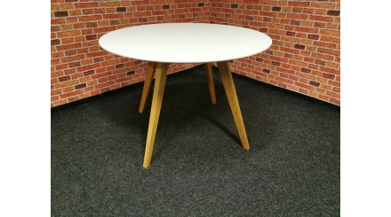 Nový bílohnědý kulatý jídelní stůl
