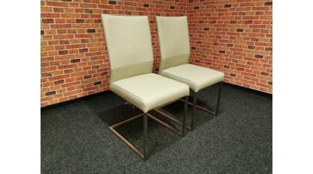 Nová 2x krémová židle HÜLSTA kůže