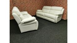 Nová kožená relax sedačka ADELE péřová krémová
