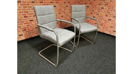 Nová 2x šedá židle s područkami